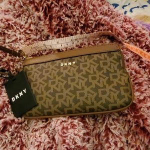 DKNY BRYANT item wristlet in browns with gold acce